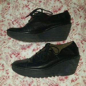 Fly London Wedge Oxford Black Shoes Sz 37
